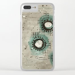 Sepia Circles Left Clear iPhone Case