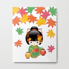 Japanese Fall Kokeshi Doll Metal Print