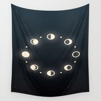 moon phases Wall Tapestries featuring Moon Phases by Sweet Colors Gallery