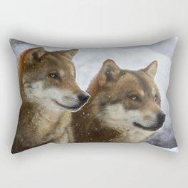 Twin Wolves Rectangular Pillow