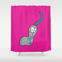 danny ivan Shower Curtains featuring Ivan the Monster by Chelsea Herrick
