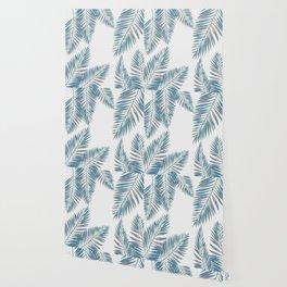 Watercolor tropical palm leaves blue Wallpaper
