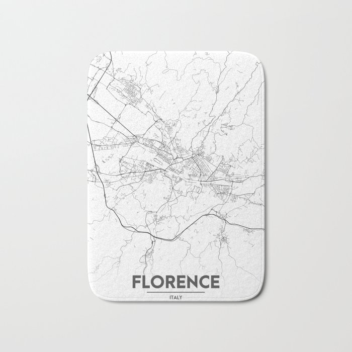 Minimal City Maps Map Of Florence Italy Bath Mat By Valsymot