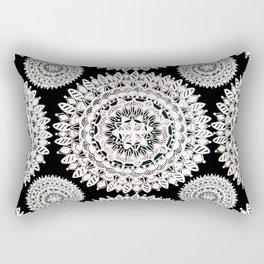 Black and Metallic White Floral Textile Mandala Rectangular Pillow