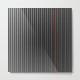 Grey Red stripes pattern Metal Print