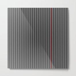 Grey Red stripes pattern Metal Print
