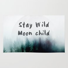 Stay wild moon child watercolor Rug