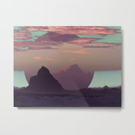 Rough Ocean Under a Cotton Candy Sky Metal Print