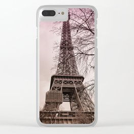 Eiffel Tower Paris in pink Clear iPhone Case