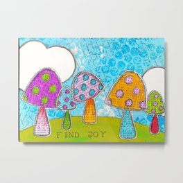 Mushroom Mixed Media Painting in Dyan Reaveley Style with Bright and Vibrant Colors Metal Print