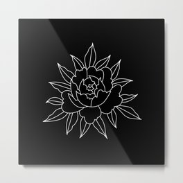 Black-and-white peony Metal Print