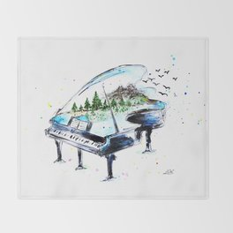 Piano with nature Throw Blanket