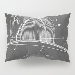 Firemans Helmet Patent - Fireman Art - Black Chalkboard Pillow Sham