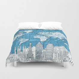 world map city skyline 10 Duvet Cover