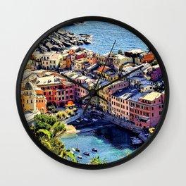 Cinque Terre Vernazza Village Mediterranean Coast, Italy Wall Clock