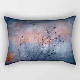 Flocking Blackbirds Rectangular Pillow
