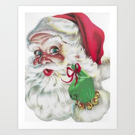 classic santa - vintage nostalgic American classic Christmas Art Print