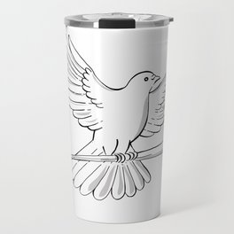 Pigeon or Dove Flying With Cane Drawing Travel Mug