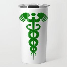 Caduceus Medical Symbol Green Travel Mug