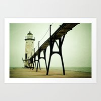 mint Art Prints featuring Manistee Light by Olivia Joy StClaire
