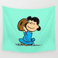 lucy Wall Tapestries featuring Lucy van Pelt throwing baseball by cvrcak