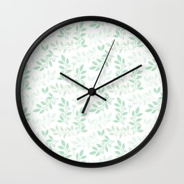Leaves pattern in Pale Green Wall Clock