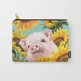 Baby Pig with Sunflowers in Blue Carry-All Pouch