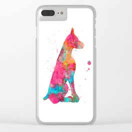 Colorful Doberman Clear iPhone Case
