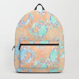 Crab orange blue nautical Backpack