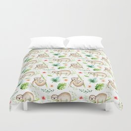 Modern hand painted green brown watercolor tropical floral sloth Duvet Cover