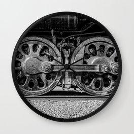 Steam Locomotive Drive Wheels Black and White Train Tracks Wall Clock