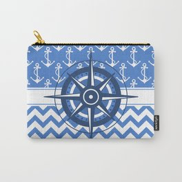 Nautical Chevron Compass Carry-All Pouch