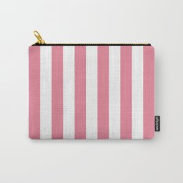 Vertical Stripes Pink & White Carry-All Pouch