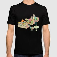 eating at johnny´s Black MEDIUM Mens Fitted Tee