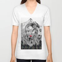 cara V-neck T-shirts featuring Cara by Veronique de Jong · illustration