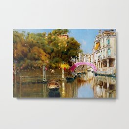 'A Sunlit Canal in Venice' landscape painting by Antonio Maria de Reyna Metal Print