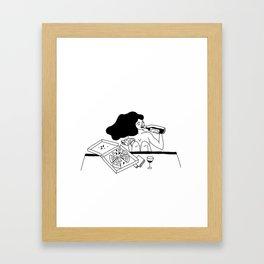 girl drinking wine eating pizza Framed Art Print