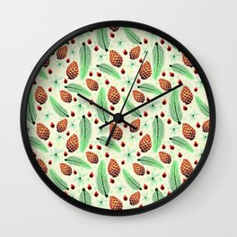Pines and Pinecones Wall Clock