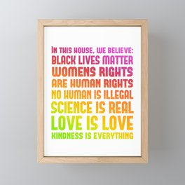 Rainbow Pride Print - In This House We Believe Framed Mini Art Print