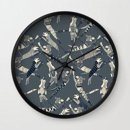 dog party indigo pewter Wall Clock