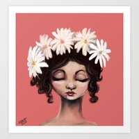 daisies Art Prints featuring Daisies by Jaleesa McLean