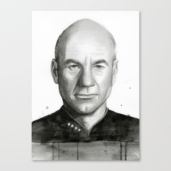 Captain Picard Watercolor Portrait Canvas Print