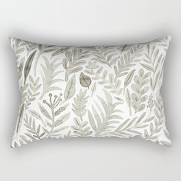 Grey Botanical Rectangular Pillow