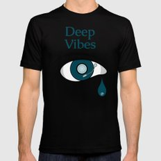 Deep Vibes Black SMALL Mens Fitted Tee