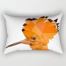 Bird artwork hoopoe geometric, Orange and brown Rectangular Pillow