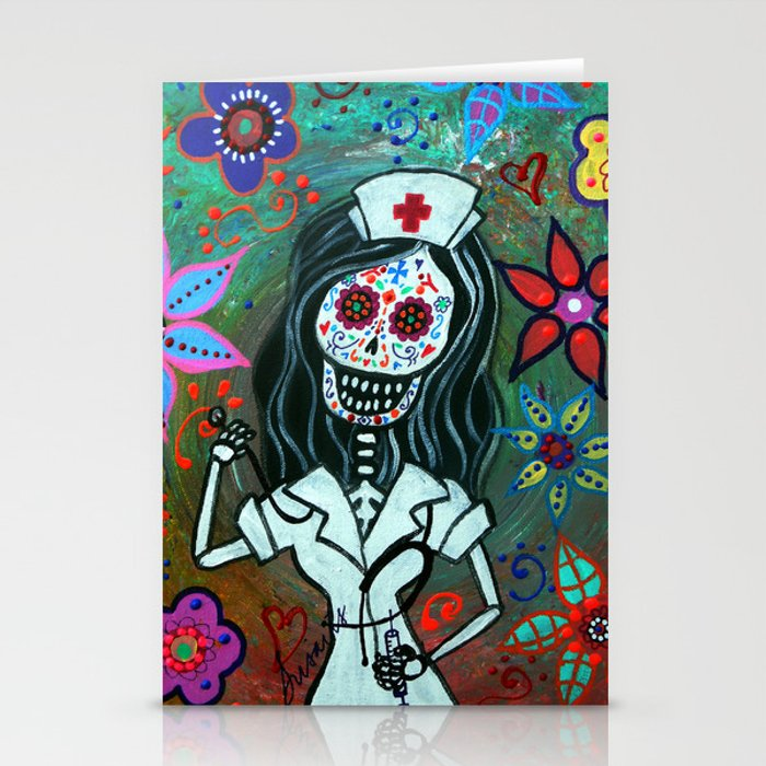 MY FAVORITE NURSE MEXICAN DAY OF THE DEAD PAINTING Stationery Cards