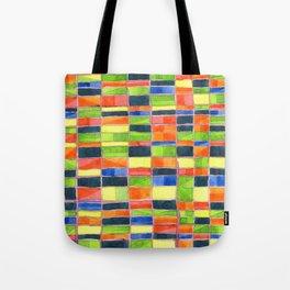 Warm Spring Time Grid Tote Bag