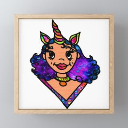 Galactic Unicorn Girl Framed Mini Art Print