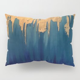 Gold Leaf & Blue Abstract Pillow Sham