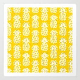 Mid Century Modern Pineapple Pattern Yellow Art Print
